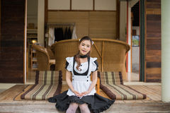 Japanese style maid cosplay cute girl Stock Image