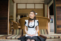 Japanese style maid cosplay cute girl Royalty Free Stock Photo