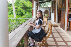 Japanese style maid cosplay cute girl Stock Photos