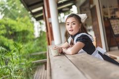 Japanese style maid cosplay cute girl. S Royalty Free Stock Photo