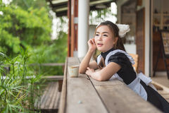 Japanese style maid cosplay cute girl Royalty Free Stock Photography