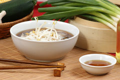 Japanese style noodle soup with bean sprouts Stock Photo