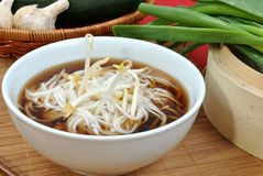 Japanese style noodle soup and bean sprouts Royalty Free Stock Photography