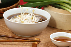 Japanese style noodle soup with bean sprouts Royalty Free Stock Images