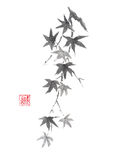 Japanese style original sumi-e maple branch ink painting. Stock Images