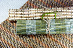 Japanese style place mats. Japanese style place mats, natural materials Stock Images
