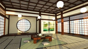 Japanese style rooms. 3D CG rendering of Japanese style rooms Royalty Free Stock Photos