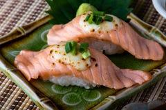 Japanese style salmon sushi. Japanese style salmon sushi serve in plate royalty free stock photography
