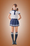 Japanese Style School Girl In Sailor Suit Royalty Free Stock Photo