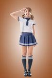 Japanese style school girl in sailor suit Royalty Free Stock Image
