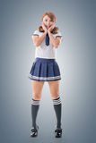 Japanese style school girl in sailor suit. Full length portrait Royalty Free Stock Photography