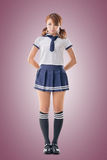 Japanese style school girl in sailor suit Stock Image