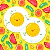 Japanese style smiled ice cream illustration. Colorful ice cream on a cone. Cute illustration of breakfast. Good morning illustration. Fried eggs with vector illustration