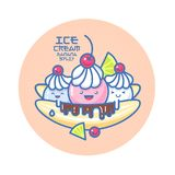 Japanese style smiled ice cream illustration. Colorful ice cream on a banana. Chocolate, cream, cherry, pieces of lime. Smile face stock illustration