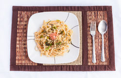 Japanese style spicy cod roe spaghetti Stock Photography