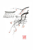 Japanese style sumi-e roofs and apples ink painting. Hieroglyph featured means sincerity. Great for greeting cards or texture design royalty free illustration