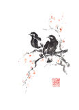 Japanese style sumi-e two crows on blooming tree painting. Royalty Free Stock Photos