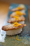 Japanese style sushi fried goose liver Stock Images