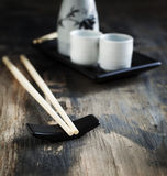 Japanese style table set and sake Royalty Free Stock Image