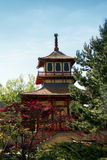 Japanese style temple in British park royalty free stock photo