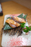 Japanese style teppanyaki roasted cod fish Royalty Free Stock Images