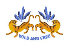 Japanese style tiger for t-shirt and other uses. Wild and free. Trendy vector illustration. Stock Photo