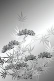 Japanese style tree pattern. Illustration of japanese style tree and bamboo pattern Stock Photography