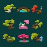 Japanese Style Trees Set Stock Photos