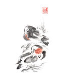 Japanese style two mandarin ducks sumi-e ink painting. Royalty Free Stock Photography