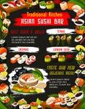 Japanese suhi with sauce and chopstics. Bar menu. Japanese sushi roll with rice, salmon fish and nori seaweed, seafood, shrimp and avocado, nigiri, uramaki stock illustration