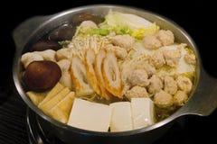 Japanese Sukiyaki. Japanese Sukiyaki in the Stainless Steel Pot. There are many ingredients stock image