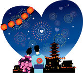 Japanese summer festival romance Royalty Free Stock Photography