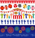 Japanese summer festival. Set of Japanese summer backgrounds Royalty Free Stock Photos