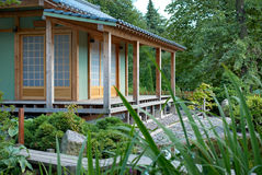 Japanese summer house. The house in traditional Japanese style Stock Images