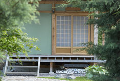 Japanese summer house. The house in traditional Japanese style Royalty Free Stock Images