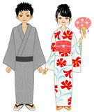 Japanese summer kimono couple Stock Photography