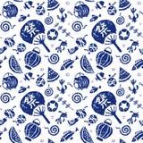 Japanese summer seamless pattern Royalty Free Stock Photos
