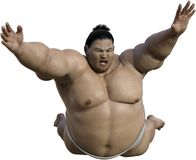 Japanese Sumo Wrestler Attack, Isolated, Japan Royalty Free Stock Photography