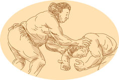 Japanese Sumo Wrestler Sketch Royalty Free Stock Photography