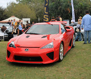 Japanese supercar at outdoors event. Front view of new red lexus lfa sports car at public car event in south florida Royalty Free Stock Image