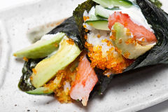 Japanese surimi crab stick and avocado Stock Photos