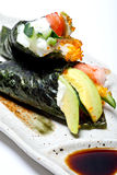 Japanese surimi crab stick and avocado  temaki Royalty Free Stock Image