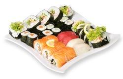 Japanese sushi. With salmon fish on white background Stock Photo