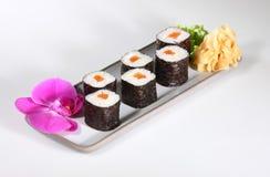 Japanese sushi. With raw fish on white background Stock Images