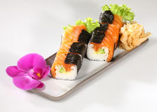 Japanese sushi. With raw fish on white background Stock Image