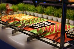 Japanese Sushi. Laid out on a buffet station Stock Images