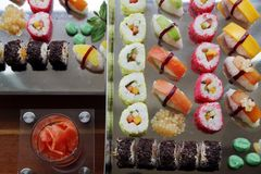 Japanese sushi. Food on buffet Stock Image