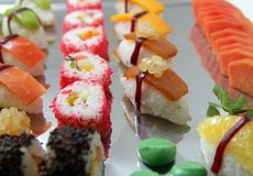 Japanese sushi. Food on buffet Royalty Free Stock Photography
