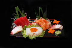 Japanese sushi. Set of Japanese sushi on bamboo plate Stock Photography