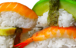 Japanese sushi. Close up photo of Japanese sushi on white Stock Image